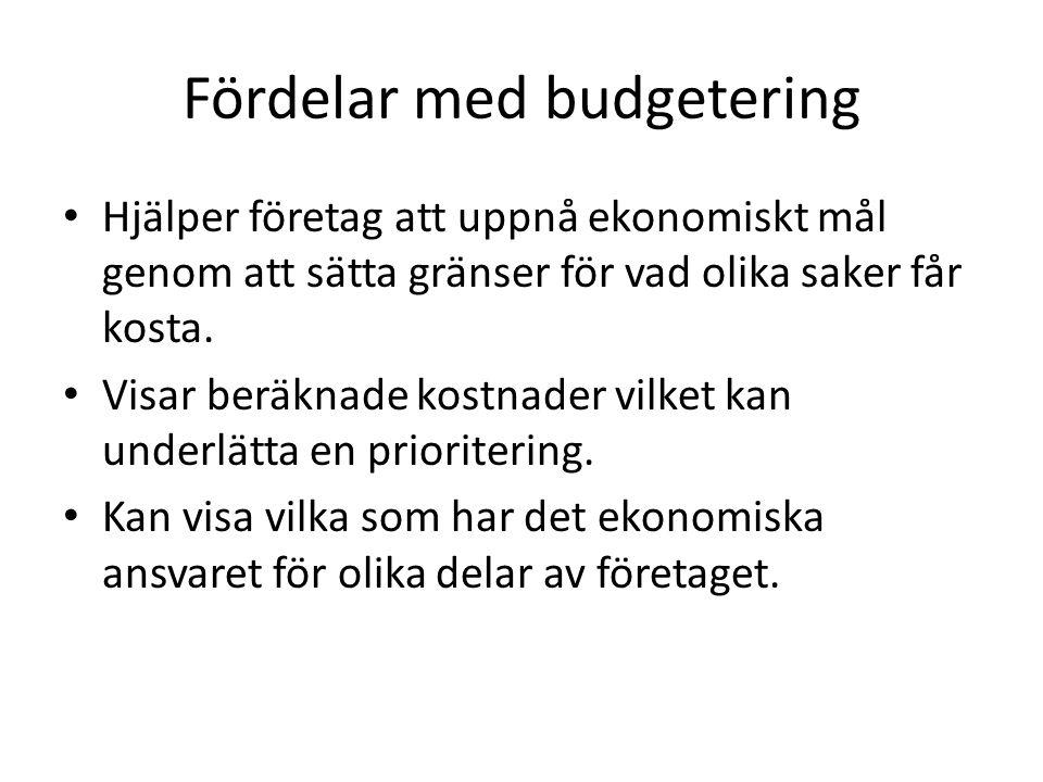 Fördelar med budgetering