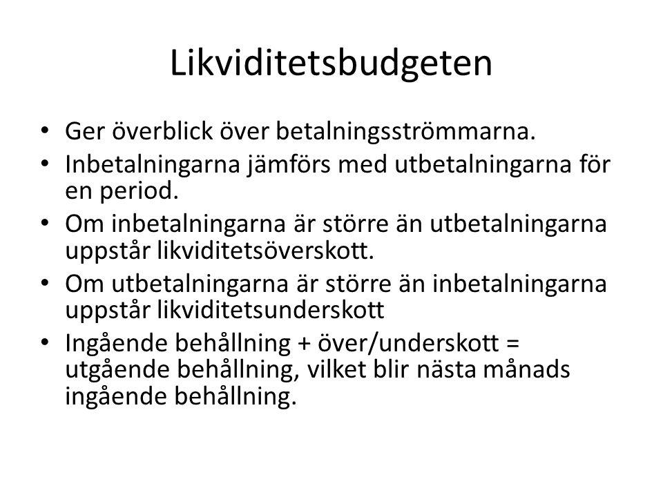 Likviditetsbudgeten Ger överblick över betalningsströmmarna.