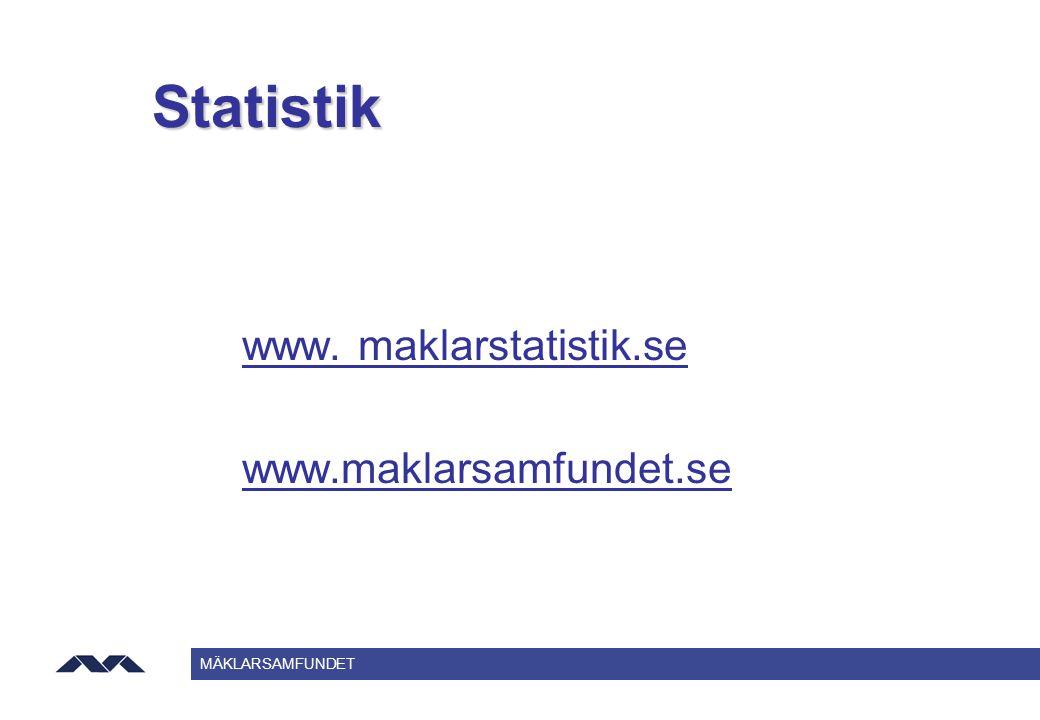 Statistik www. maklarstatistik.se www.maklarsamfundet.se