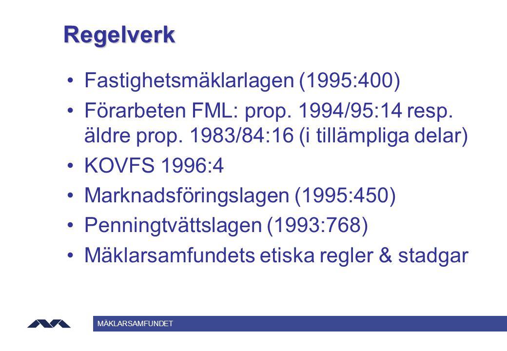 Regelverk Fastighetsmäklarlagen (1995:400)