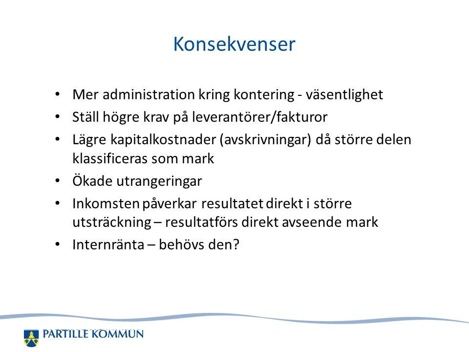 Konsekvenser Mer administration kring kontering - väsentlighet