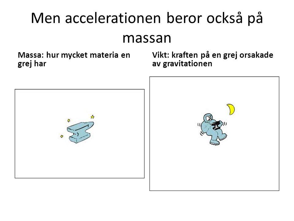 Men accelerationen beror också på massan
