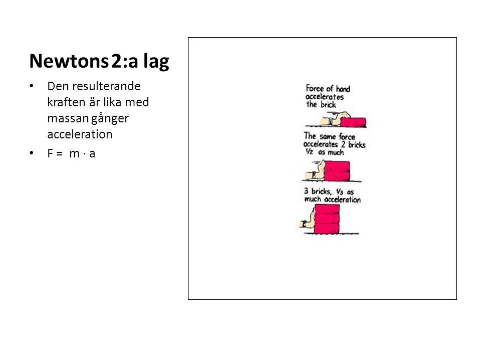 Newtons 2:a lag Den resulterande kraften är lika med massan gånger acceleration F = m ∙ a