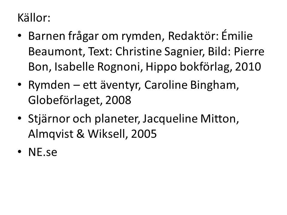 Källor: Barnen frågar om rymden, Redaktör: Émilie Beaumont, Text: Christine Sagnier, Bild: Pierre Bon, Isabelle Rognoni, Hippo bokförlag, 2010.
