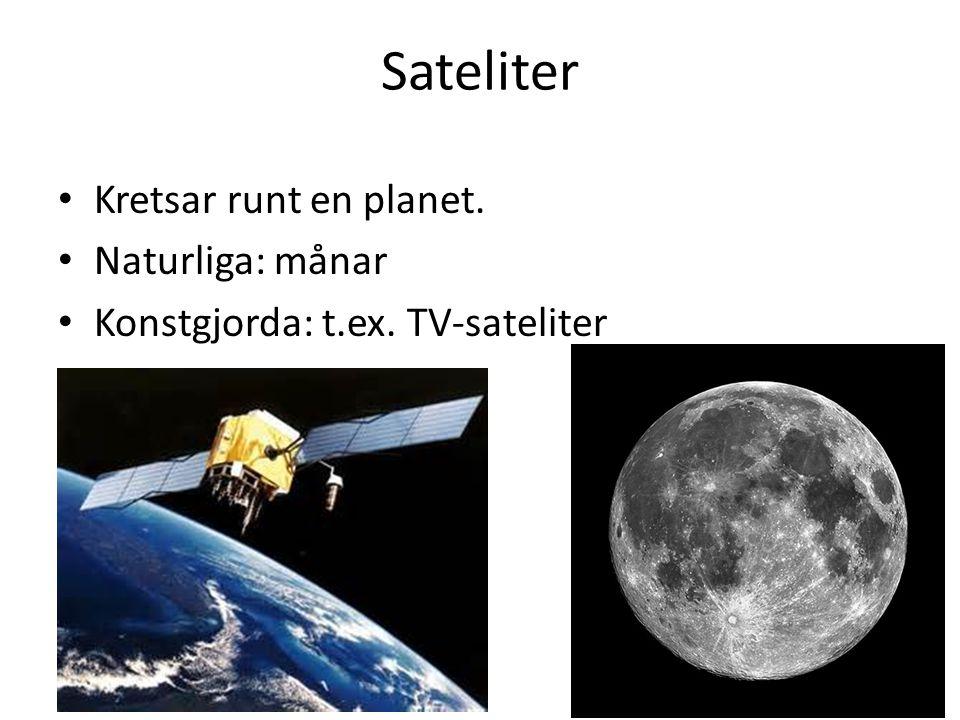 Sateliter Kretsar runt en planet. Naturliga: månar