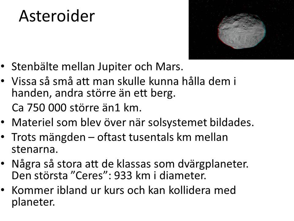 Asteroider Stenbälte mellan Jupiter och Mars.