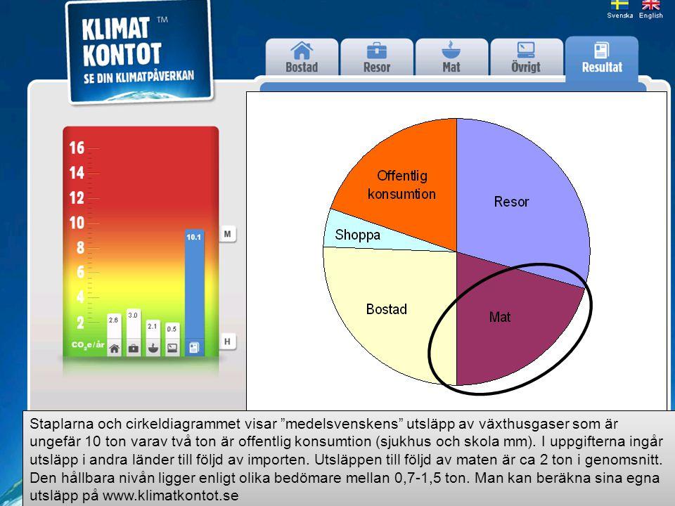 Staplarna och cirkeldiagrammet visar medelsvenskens utsläpp av växthusgaser som är ungefär 10 ton varav två ton är offentlig konsumtion (sjukhus och skola mm).