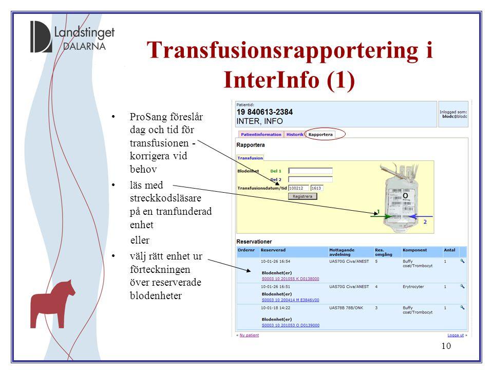 Transfusionsrapportering i InterInfo (1)