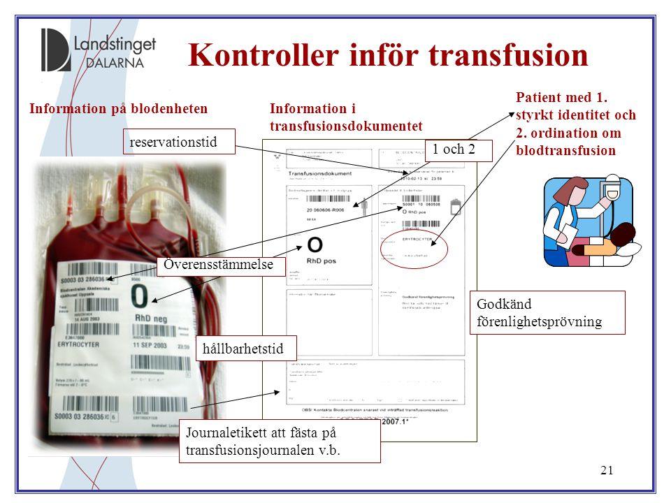 Kontroller inför transfusion