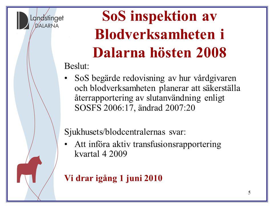 SoS inspektion av Blodverksamheten i Dalarna hösten 2008
