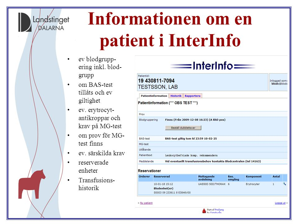 Informationen om en patient i InterInfo