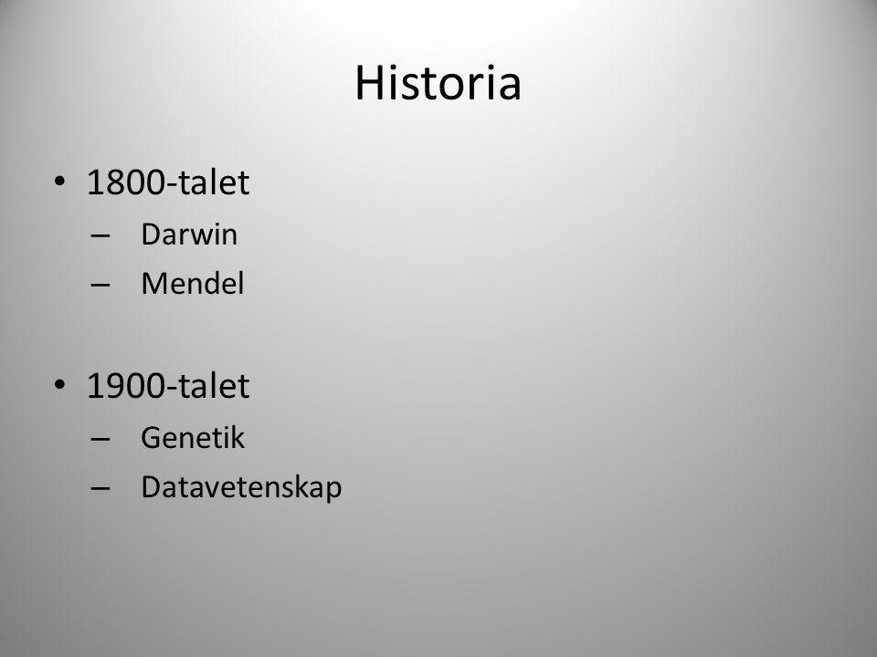 Historia 1800-talet Darwin Mendel 1900-talet Genetik Datavetenskap