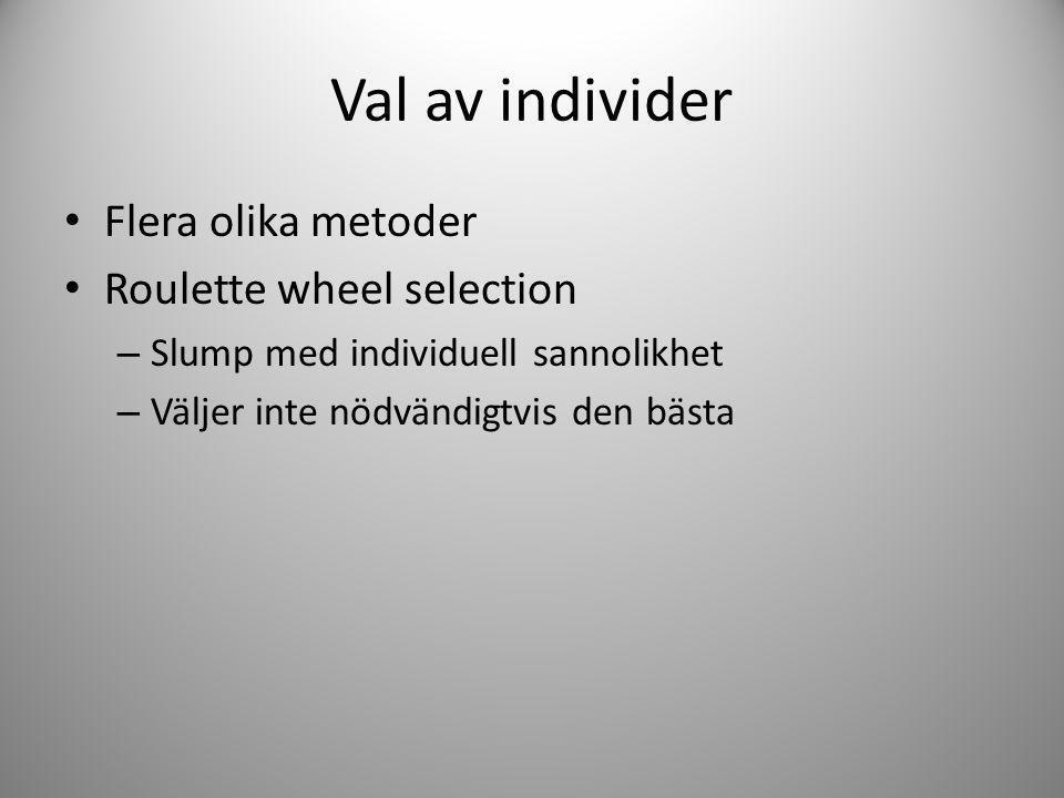 Val av individer Flera olika metoder Roulette wheel selection