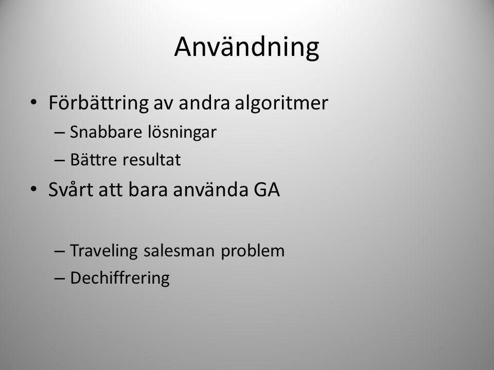 Användning Förbättring av andra algoritmer Svårt att bara använda GA