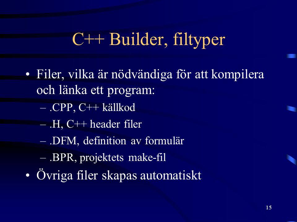 C++ Builder, filtyper Filer, vilka är nödvändiga för att kompilera och länka ett program: .CPP, C++ källkod.