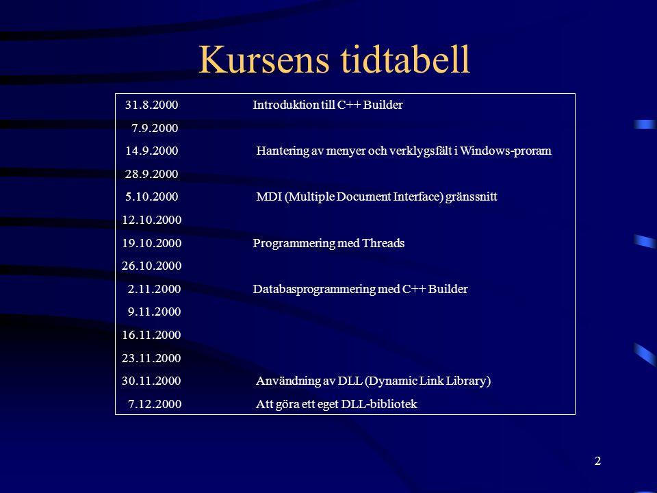 Kursens tidtabell 31.8.2000 Introduktion till C++ Builder 7.9.2000