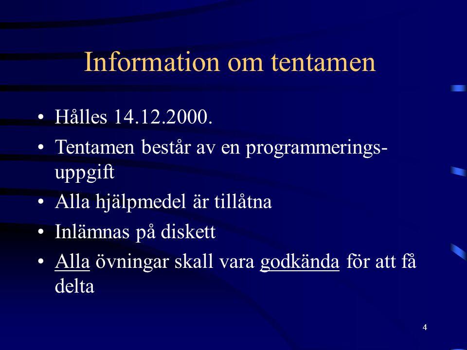 Information om tentamen