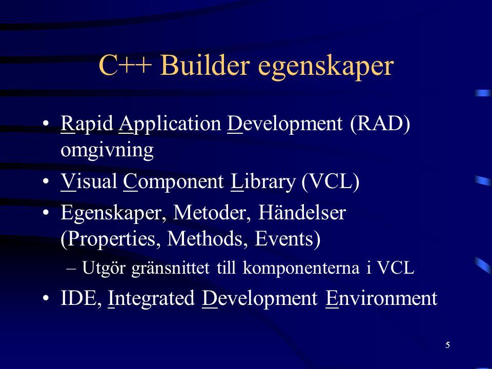 C++ Builder egenskaper