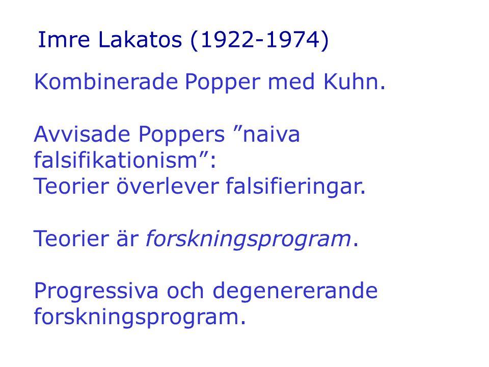 Imre Lakatos (1922-1974) Kombinerade Popper med Kuhn. Avvisade Poppers naiva falsifikationism : Teorier överlever falsifieringar.