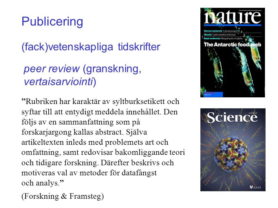 Publicering (fack)vetenskapliga tidskrifter
