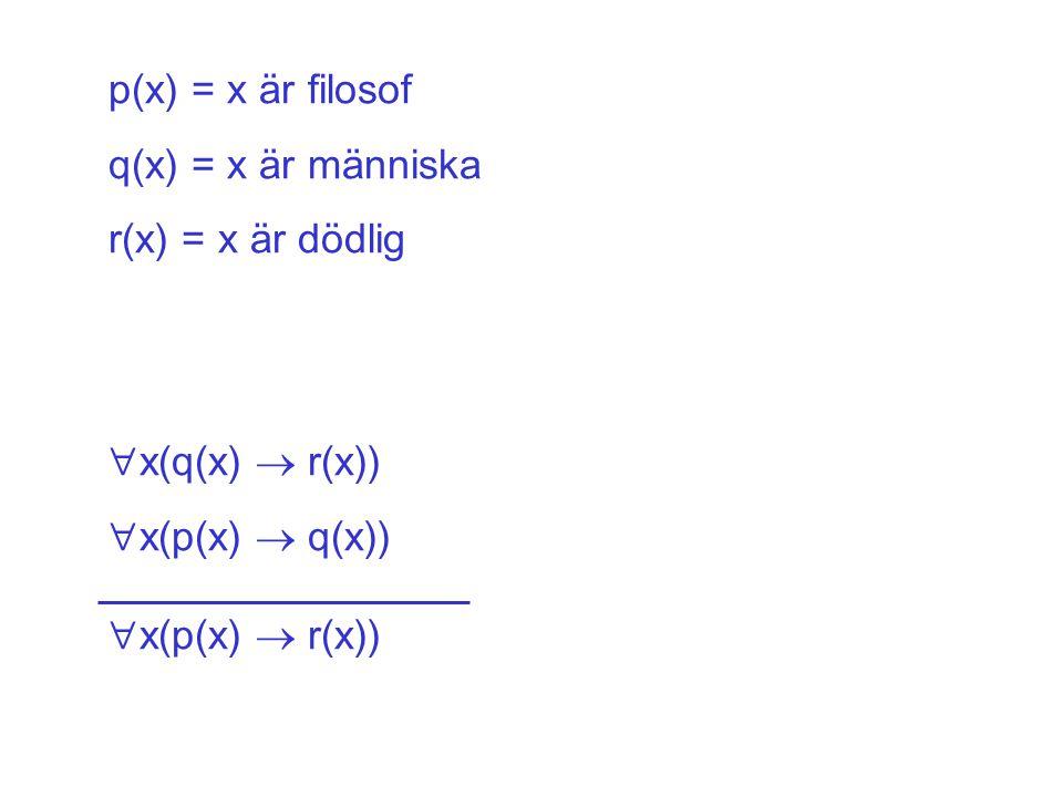 p(x) = x är filosof q(x) = x är människa. r(x) = x är dödlig.