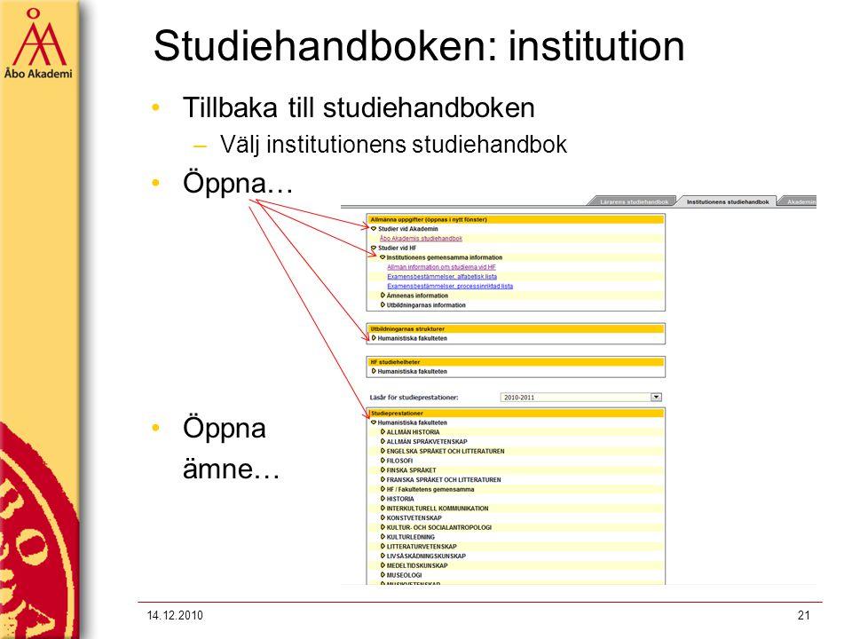 Studiehandboken: institution
