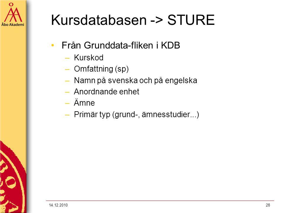 Kursdatabasen -> STURE