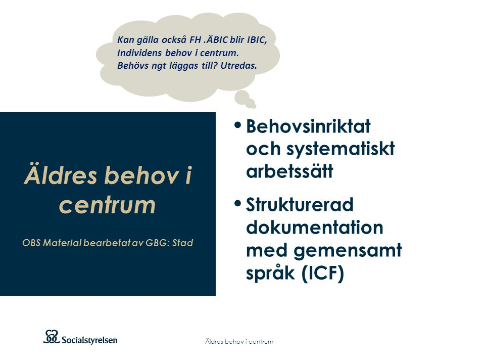 OBS Material bearbetat av GBG: Stad