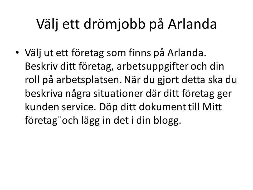 Välj ett drömjobb på Arlanda