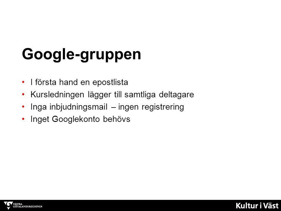 Google-gruppen I första hand en epostlista