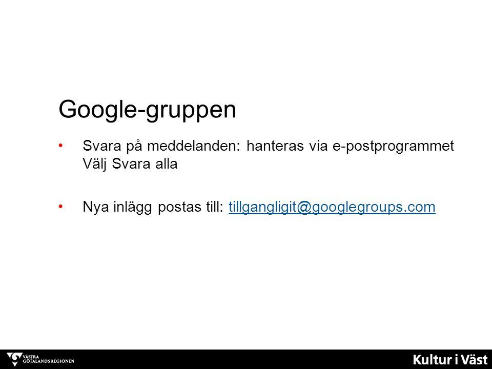 Google-gruppen Svara på meddelanden: hanteras via e-postprogrammet Välj Svara alla.