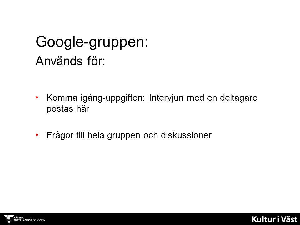Google-gruppen: Används för: