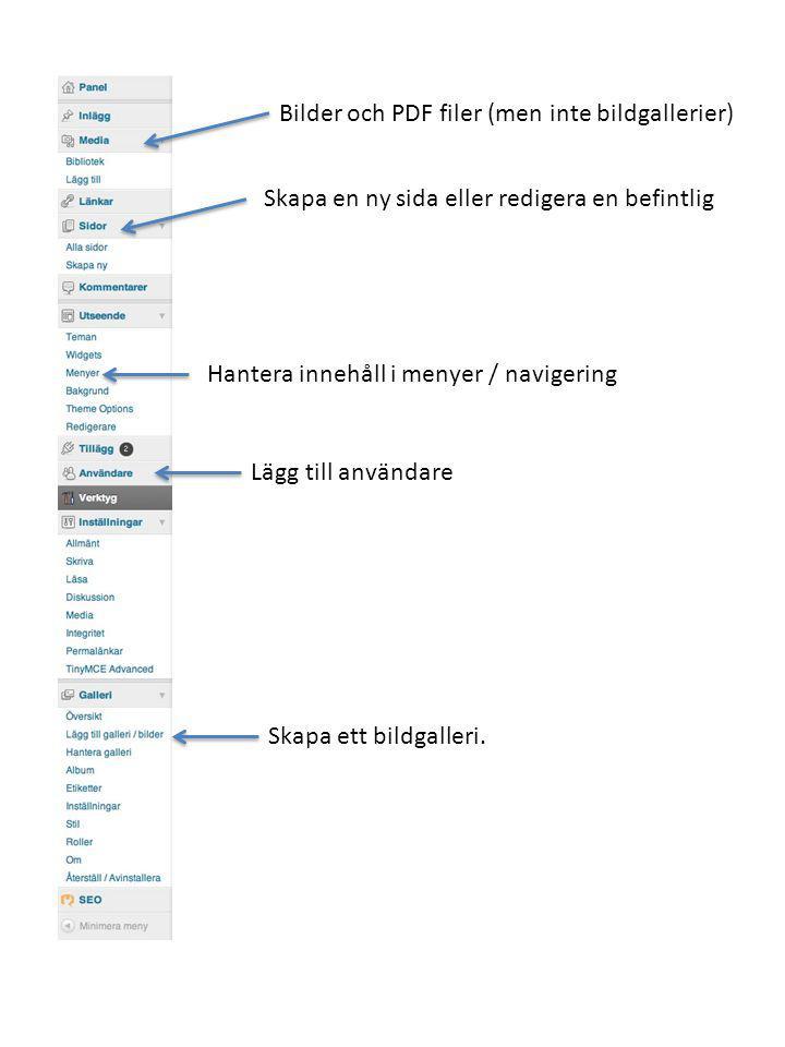 Bilder och PDF filer (men inte bildgallerier)