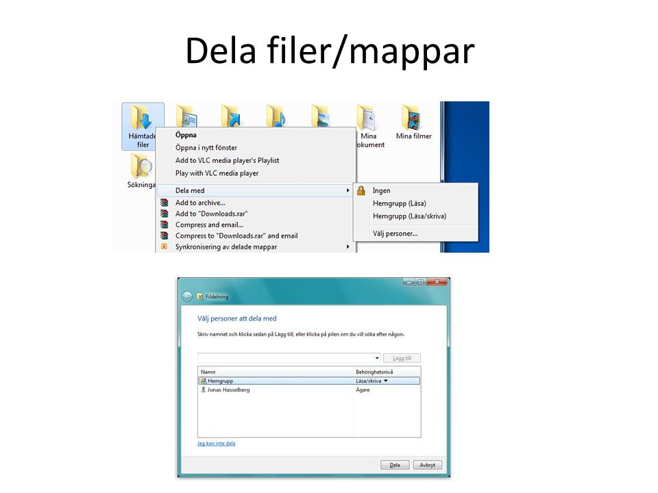 Dela filer/mappar