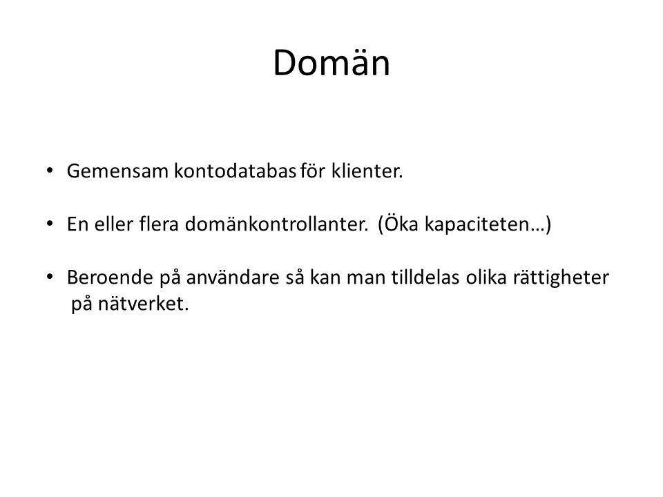 Domän Gemensam kontodatabas för klienter.