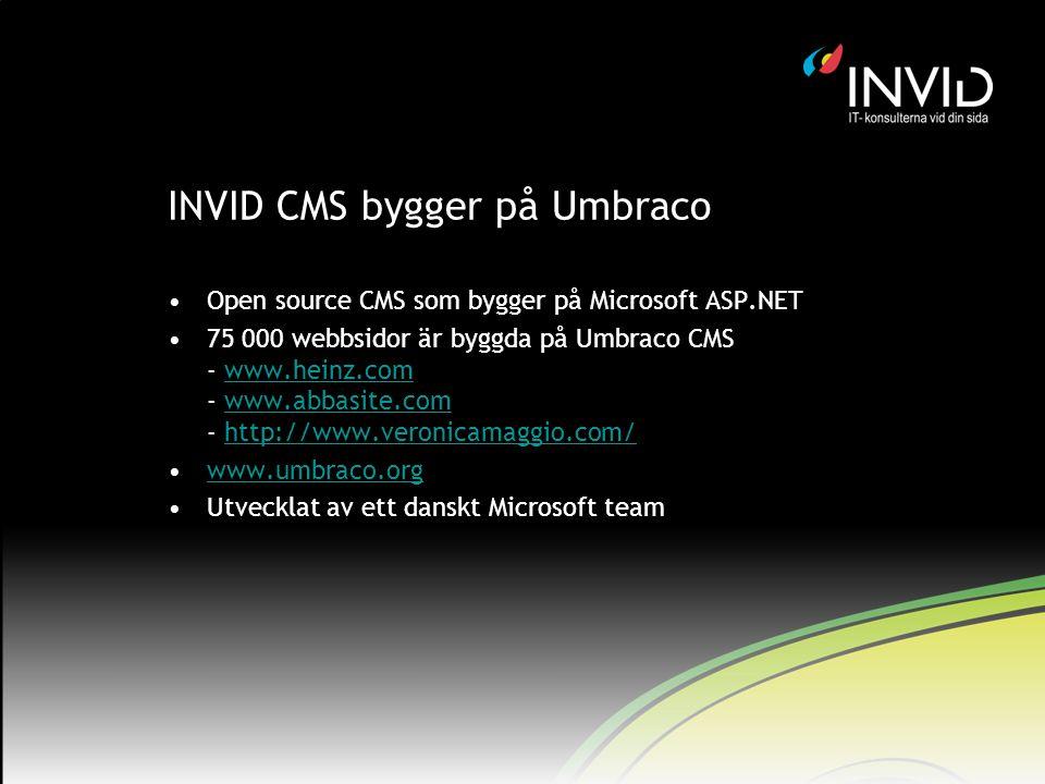 INVID CMS bygger på Umbraco