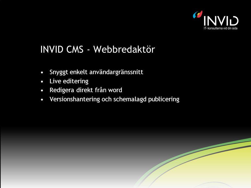 INVID CMS - Webbredaktör