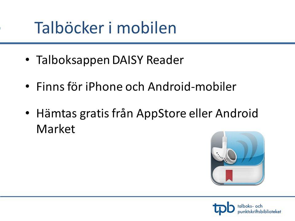 Talböcker i mobilen Talboksappen DAISY Reader