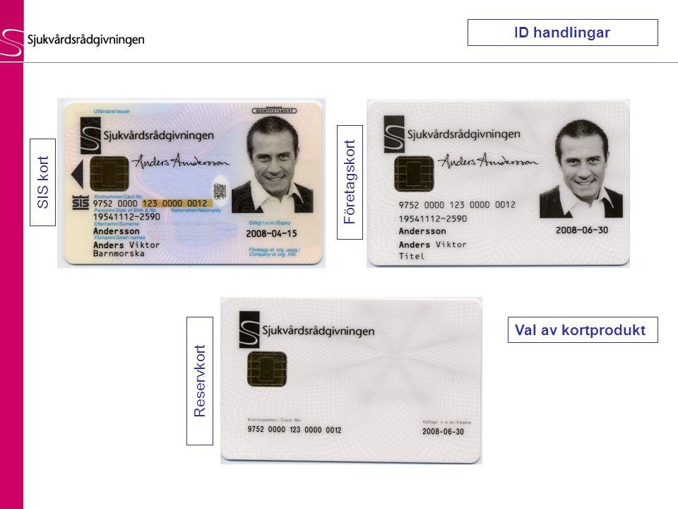 ID handlingar SIS kort Företagskort Val av kortprodukt Reservkort