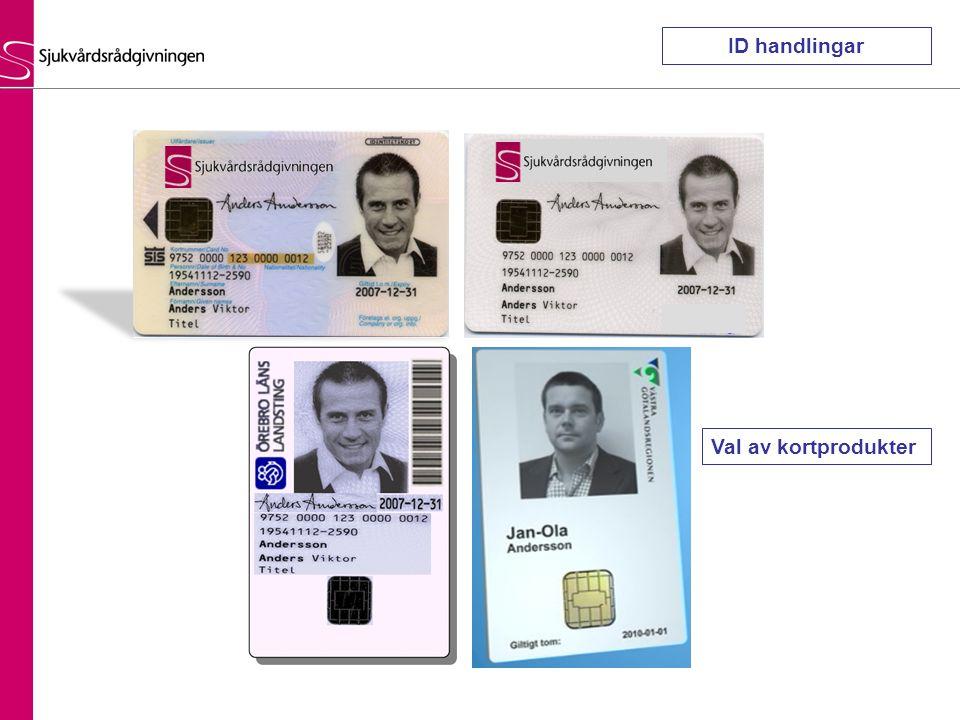 ID handlingar Val av kortprodukter
