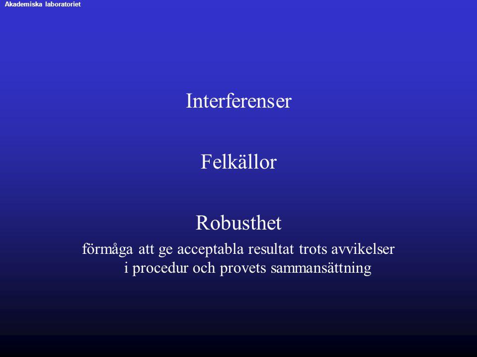Interferenser Felkällor Robusthet