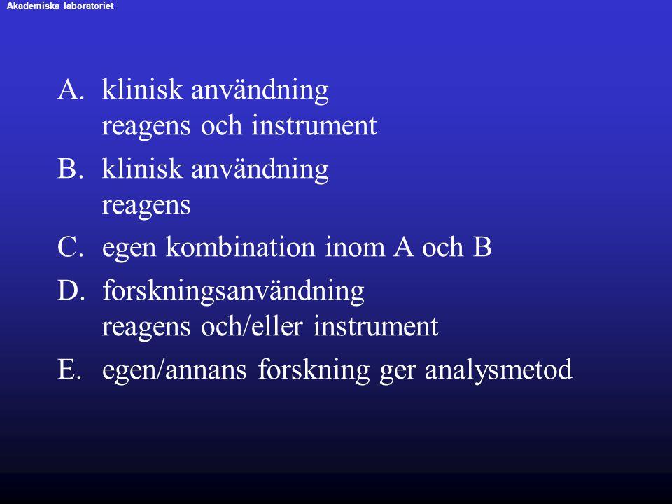 klinisk användning reagens och instrument klinisk användning reagens