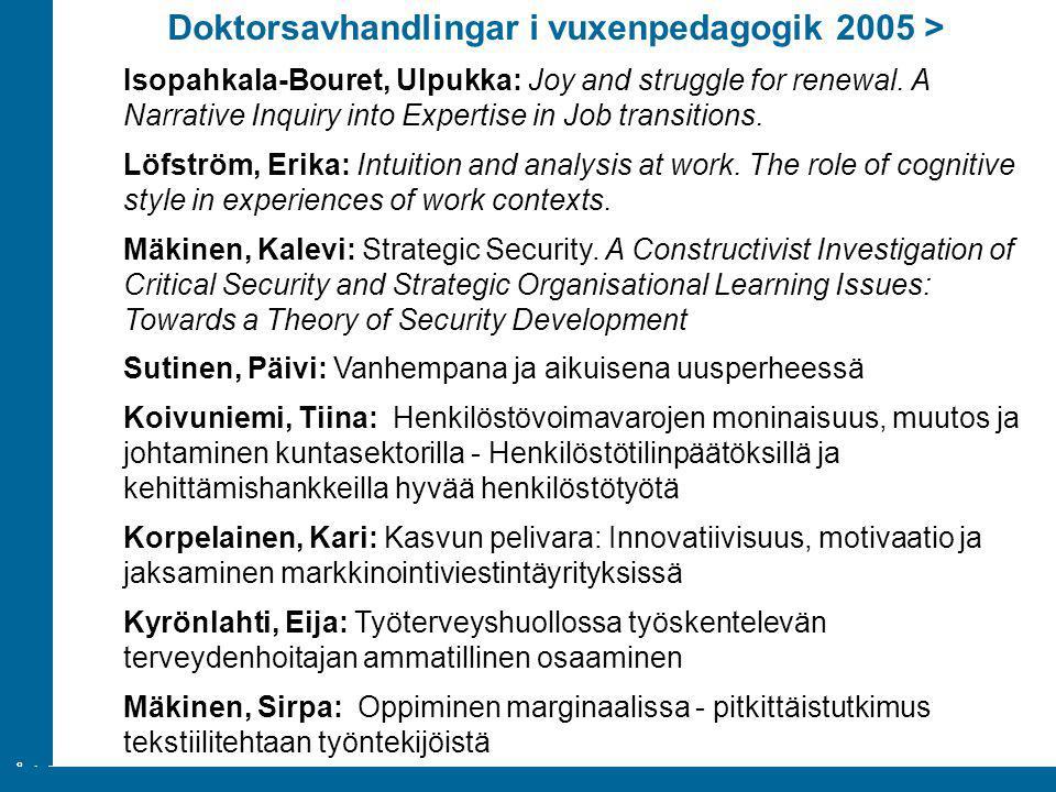 Doktorsavhandlingar i vuxenpedagogik 2005 >