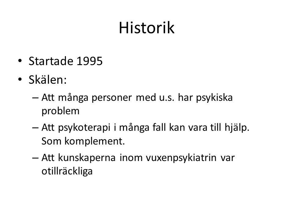 Historik Startade 1995 Skälen: