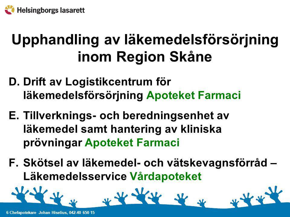 Upphandling av läkemedelsförsörjning inom Region Skåne