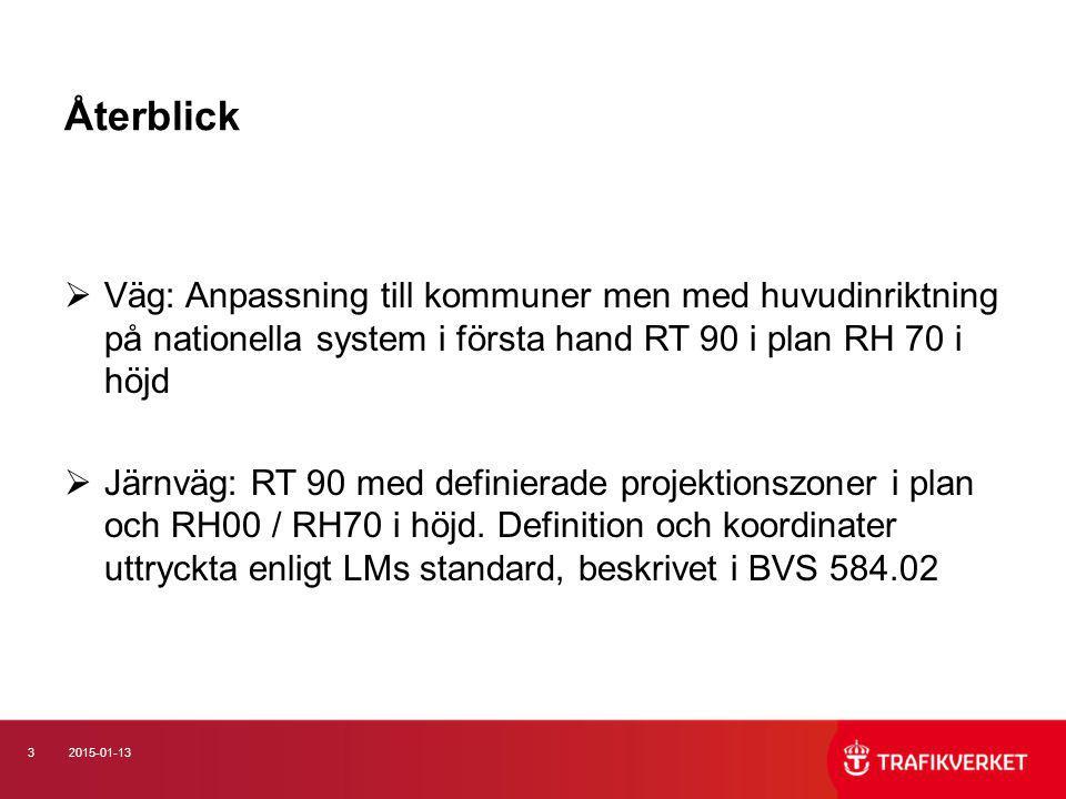 Återblick Väg: Anpassning till kommuner men med huvudinriktning på nationella system i första hand RT 90 i plan RH 70 i höjd.