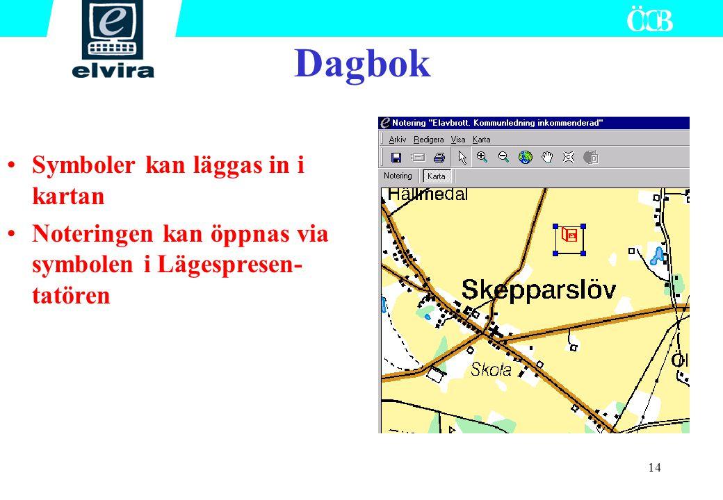 Dagbok Symboler kan läggas in i kartan