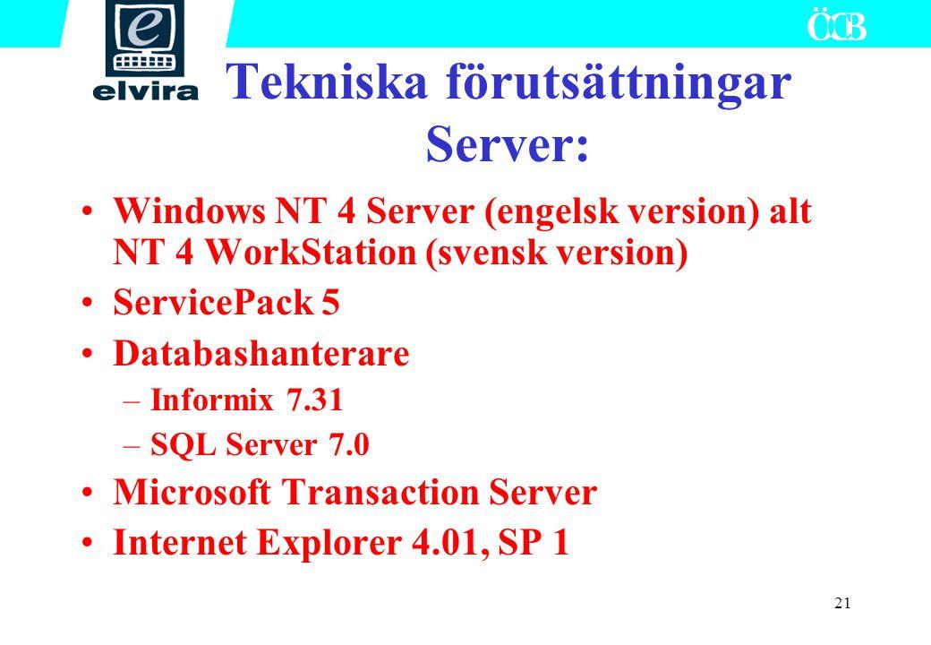 Tekniska förutsättningar Server: