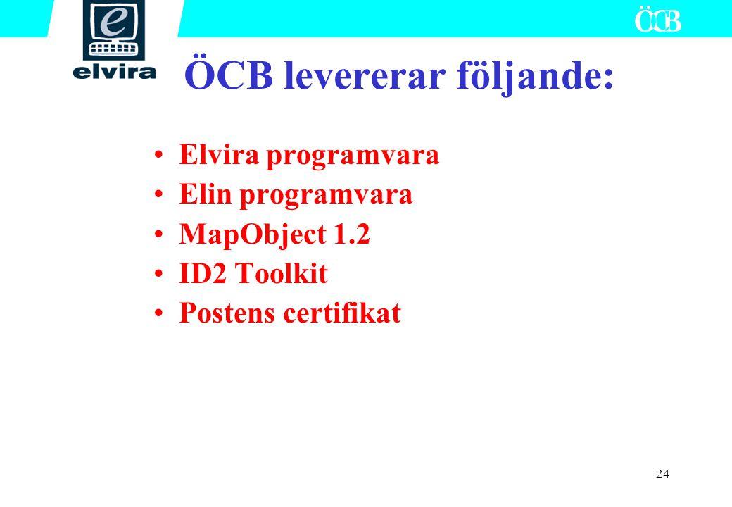 ÖCB levererar följande: