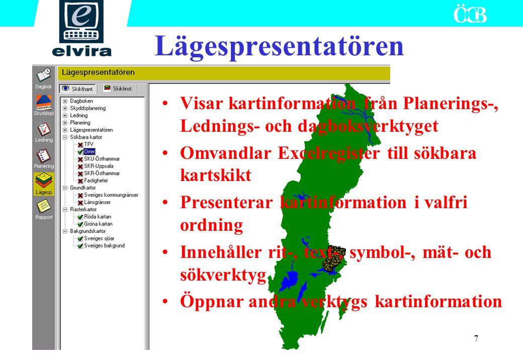 Lägespresentatören Visar kartinformation från Planerings-, Lednings- och dagboksverktyget. Omvandlar Excelregister till sökbara kartskikt.